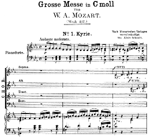 no.1: kyriesoprano solo , choir satb, and piano. great mass in c minor, k. 427, w.a. mozart. vocal score (alois schmitt) ed. breitkopf (1901). latin
