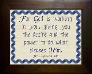 For God is Working in You | Crafting | Cross-Stitch | Religious