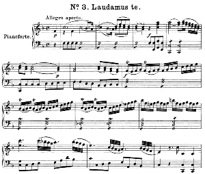no.3 laudamus te: mezzo soprano solo and piano. great mass in c minor k.427, w.a. mozart. vocal score (alois schmitt) ed. breitkopf (1901). latin