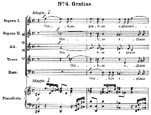 no.4 gratias: choir sopr.i, sopr ii, alto,,tenor,bass, and piano. great mass in c minor k.427, w.a. mozart. vocal score (alois schmitt) ed. breitkopf (1901). latin