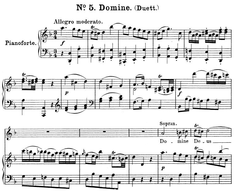 No 5 Domine Deus: Duet Soprano,Mezzo and Piano  Great Mass in C Minor  K 427, W A  Mozart  Vocal Score (Alois Schmitt) Ed  Breitkopf (1901)  Latin