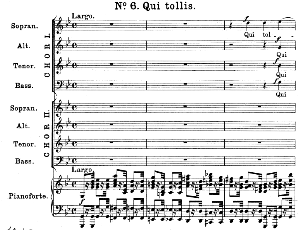 no.6 qui tollis: double choir satb and piano. great mass in c minor k.427, w.a. mozart. vocal score (alois schmitt) ed. breitkopf (1901). latin.