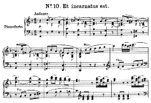 no.10 et incarnatus est: soprano solo and piano. great mass in c minor k.427, w.a. mozart. vocal score (alois schmitt) ed. breitkopf (1901). latin.