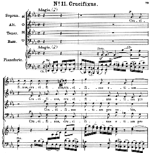 no.11 crucifixus: choir satb and piano. great mass in c minor k.427, w.a. mozart. vocal score (alois schmitt) ed. breitkopf (1901). latin.