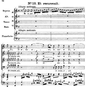 no.12 et ressurexit: choir satb and piano. great mass in c minor k.427, w.a. mozart. vocal score (alois schmitt) ed. breitkopf (1901). latin.