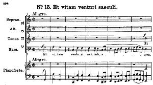 no.15 et vitam venturi saeculi: choir satb and piano. great mass in c minor k.427, w.a. mozart. vocal score (alois schmitt) ed. breitkopf (1901). latin.