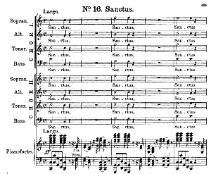 no.16 sanctus & hosanna: double choir satb and piano. great mass in c minor, k. 427, w.a. mozart. vocal score (alois schmitt) ed. breitkopf (1901). latin.