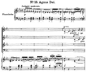 no.18 agnus dei: soprano solo, choir satb and piano. great mass in c minor k.427, w.a. mozart. vocal score (alois schmitt) ed. breitkopf (1901). latin.