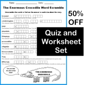 50% off enormous crocodile quiz and worksheets set