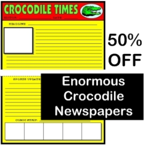 50% off enormous crocodile newspaper