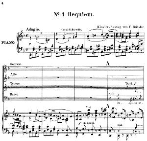 No.1 Requiem aeternam: Soprano Solo, Choir SATB and Piano. Kyrie: Choir SATB andPiano. Requiem K.626, W.A. Mozart. Vocal Score (Friedrich Brissler), Ed. Peters (1895). Latin | eBooks | Sheet Music