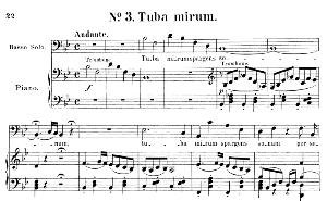no.3 tuba mirum: solo quartet satb and piano. requiem k.626, w.a. mozart. vocal score (friedrich brissler), ed. peters (1895). latin.