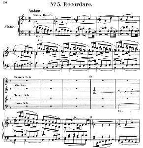 no.5 recordare: quartet soprano, mezzo, tenor, bass (soli) and piano. requiem k.626, w.a. mozart. vocal score (friedrich brissler), ed. peters (1895). latin.