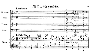 no.7 lacrymosa: choir satb and piano (lacrimosa). requiem k.626, w.a. mozart. vocal score (friedrich brissler), ed. peters (1895). latin.