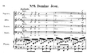 no.8 domine jesu: choir satb, solo quartet satb and piano. requiem k.626, w.a. mozart. vocal score (friedrich brissler), ed. peters (1895). latin.
