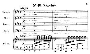 no.10 sanctus: choir satb and piano. requiem k.626, w.a. mozart. vocal score (friedrich brissler), ed. peters (1895). latin.
