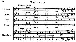 no.3 beatus vir: solo quartet satb , choir satb and piano. vesperae solennes de confessore k.339, w.a. mozart. vocal score (j.a. fuller maitland) ed. breitkopf (1896). latin.