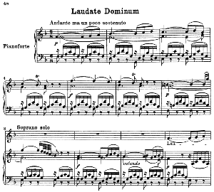 No.5 Laudate Dominum: Soprano Solo, Choir SATB, and Piano. Vesperae solennes de confessore K.339, W.A. Mozart. Vocal Score (J.A. Fuller Maitland) Ed. Breitkopf (1896). Latin. | eBooks | Sheet Music