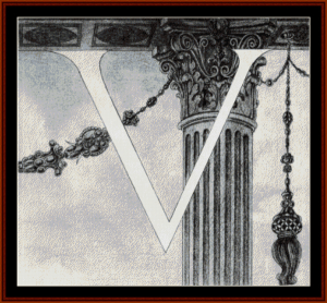 design of initial v - beardsley cross stitch pattern by cross stitch collectibles