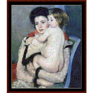 reine holding a baby, 1903 - cassatt cross stitch pattern by cross stitch collectibles
