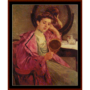 Woman at Her Toilette, 1909 - Cassatt cross stitch pattern by Cross Stitch Collectibles | Crafting | Cross-Stitch | Wall Hangings