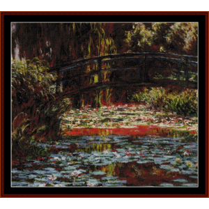the japanese bridge, iv - monet cross stitch pattern by cross stitch collectibles