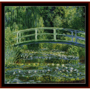 the japanese bridge, 1899 - monet cross stitch pattern by cross stitch collectibles