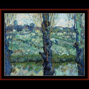 View of Arles, 1889 - Van Gogh cross stitch pattern by Cross Stitch Collectibles | Crafting | Cross-Stitch | Wall Hangings