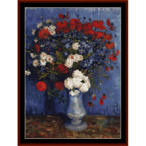 Vase with Cornflowers and Poppies - Van Gogh cross stitch pattern by Cross Stitch Collectibles | Crafting | Cross-Stitch | Wall Hangings