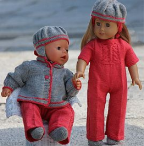 DollKnittingPatterns - 0118D VANJA- Suit, Jacket, Hairband, Socks and Hat for American Girl Doll, Hat for Baby born (English) | Crafting | Knitting | Baby and Child