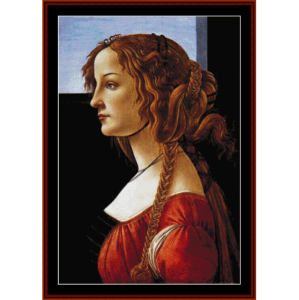 portrait of a young woman - botticelli cross stitch pattern by cross stitch collectibles