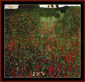 poppy field - klimt cross stitch pattern by cross stitch collectibles