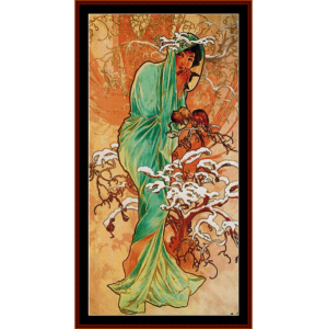 winter 1896 - mucha cross stitch pattern by cross stitch collectibles