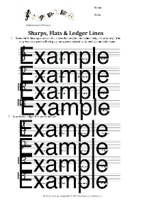 sharps, flats and ledger lines worksheet