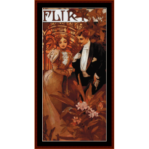 Flirt - Mucha cross stitch pattern by Cross Stitch Collectibles | Crafting | Cross-Stitch | Wall Hangings