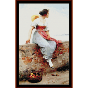 a pensive moment - de blass cross stitch pattern by cross stitch collectibles