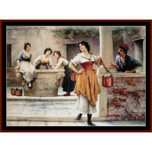 flirtation at the well - de blass cross stitch pattern by cross stitch collectibles