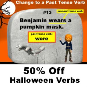 50% off halloween verbs