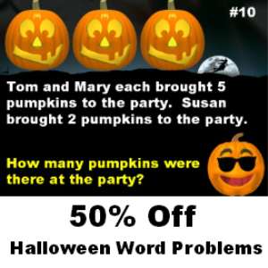 50% off halloween math word problems