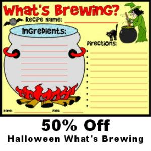 50% off what's brewing halloween witch