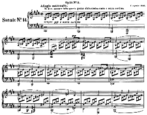 piano sonata no.14, op.27 no.2 in c-sharp minor (moonlight sonata). l.v. beethoven. ed. breitkopf urtext (karl krebs), vol. i  (kalmus reprint). restored.