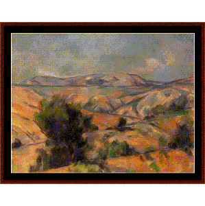 mount ste. victoire, 1886 - cezanne cross stitch pattern by cross stitch collectibles