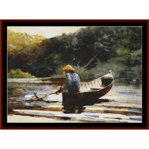 boy fishing - homer cross stitch pattern by cross stitch collectibles