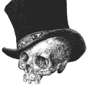 top hat skull illustration