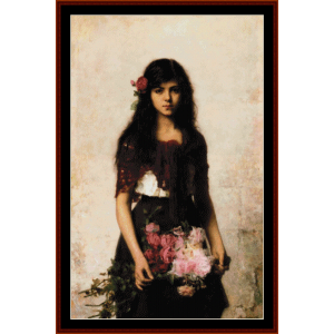 flower seller - harlamoff cross stitch pattern by cross stitch collectibles