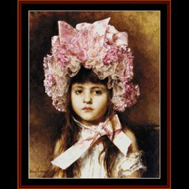 The Pink Bonnett - Harlamoff cross stitch pattern download | Crafting | Cross-Stitch | Wall Hangings