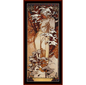 winter 1897 - mucha cross stitch pattern by cross stitch collectibles