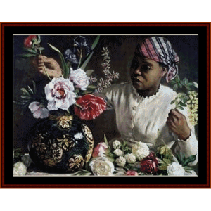 woman with vase of flowers - bazille cross stitch pattern by cross stitch collectibles