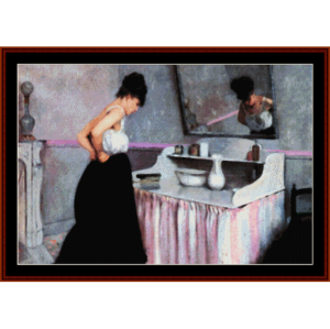 woman dressing - caillebotte cross stitch pattern by cross stitch collectibles
