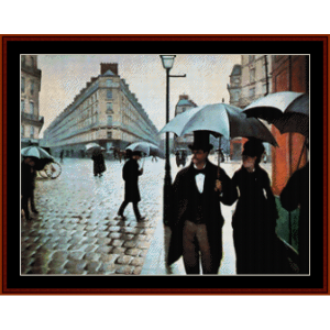 Paris Rainy Day - Caillebotte cross stitch pattern by Cross Stitch Collectibles | Crafting | Cross-Stitch | Wall Hangings